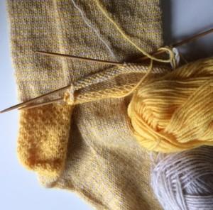 Breien aan een sok
