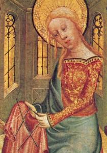 """""""The Knitting Madonna"""" van de rechterkant van het  Buxtehude Altar, 1400–1410. Meister Bertram von Minden (1345–1425) Collectie Kunsthalle, Hamburg, Duitsland"""