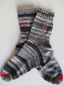 Sokken met gemaasde teen en versiering