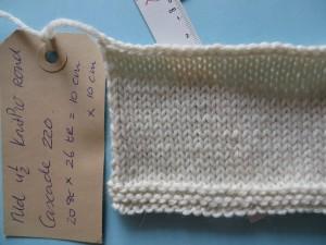 swatch met de juiste steekverhouding voor 'worsted weight' yarn